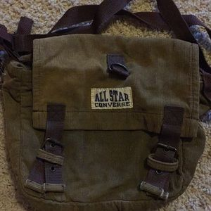 An olive green satchel